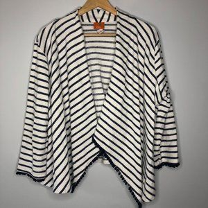 Hearts of Palm Striped Navy & White Nautical Cardigan - XL